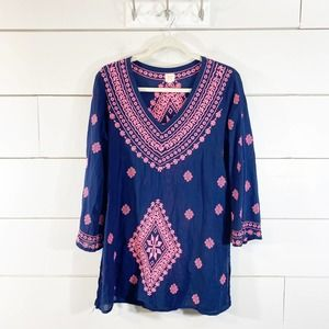 Surf Gypsy Navy Pink Embroidered Cover-Up Dress